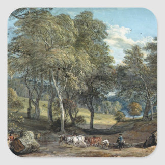 Windsor Forest with Oxen Drawing Timber, 1798 Square Sticker