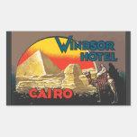 Windsor Hotel Cairo, Vintage Rectangular Sticker