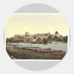 Windsor, vista del castillo del río, Londres Etiquetas Redondas