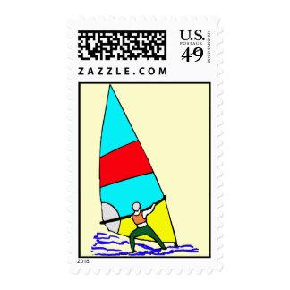 Windsurf Vivid Colors Postage Stamp