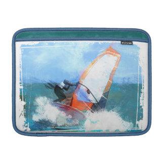 Windsurfer anaranjado de la vela del expresionista funda macbook air