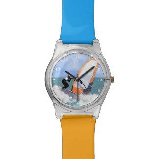 Windsurfer anaranjado de la vela relojes