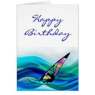 Windsurfer del tecnicolor tarjeta de felicitación