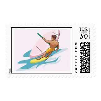 Windsurfer dude guy sports water ocean fun summer postage