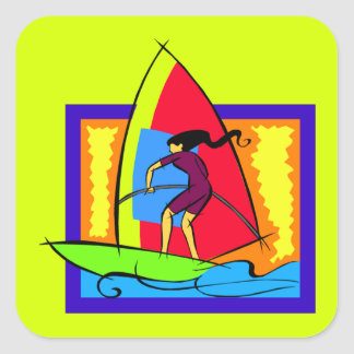 Windsurfer Ocean Sports Boat Surf Waves Square Stickers