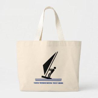 Windsurfer on board black, blue windsurfing custom large tote bag