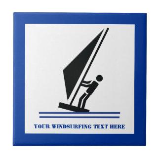 Windsurfer on board black, blue windsurfing custom tile