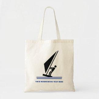 Windsurfer on board black, blue windsurfing custom tote bag