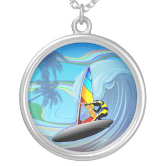 WindSurfer on Ocean Waves Round Necklace