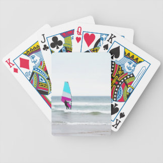 Windsurfer with Aqua and Pink Bicycle Playing Cards