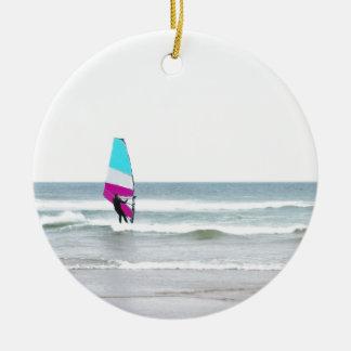 Windsurfer with Aqua and Pink Ceramic Ornament