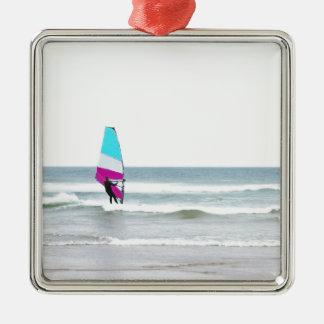 Windsurfer with Aqua and Pink Metal Ornament