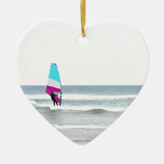 Windsurfer with Aqua and Pink Christmas Tree Ornament