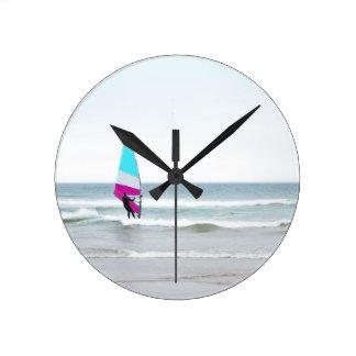 Windsurfer with Aqua and Pink Round Clock