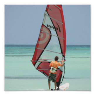 Windsurfing Aruba Poster Print