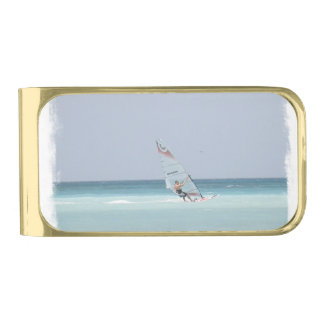 Windsurfing Gold Finish Money Clip