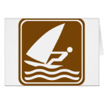 Windsurfing Highway Sign Greeting Cards