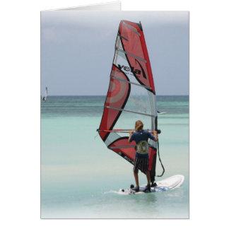 Windsurfing Horizon Vertical Greeting Card