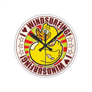 Windsurfing Love Duck Round Clock