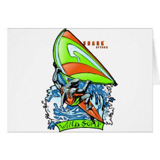 Windsurfing Shark Attack Greeting Card