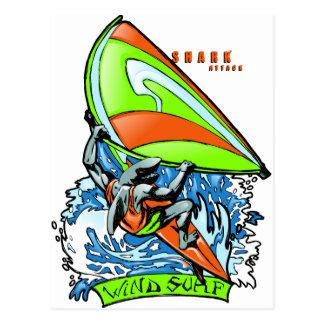 Windsurfing Shark Attack Postcard