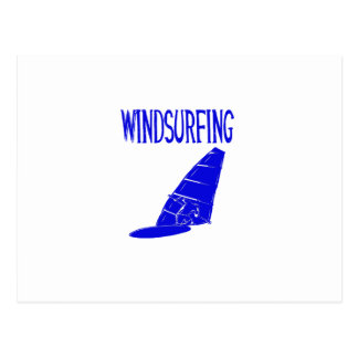 windsurfing v2 blue text sport.png postcard
