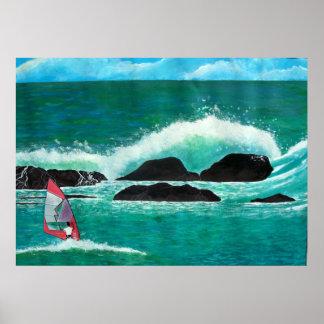 Windsurfing Wind Surfer in Hawaii Art Painting Sea Print