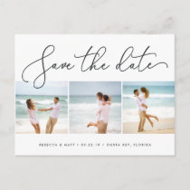 Windswept | Beach Wedding Photo Save the Date Announcement Postcard