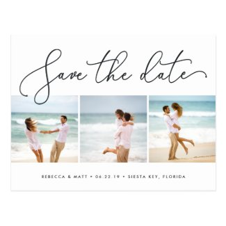 Windswept   Beach Wedding Photo Save the Date Postcard