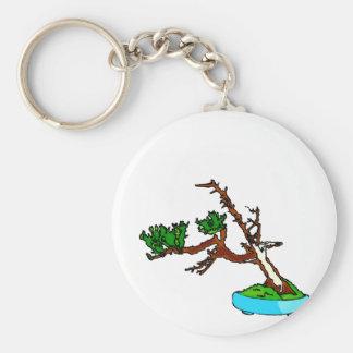 Windswept bonsai tree with deadwood graphic key chain