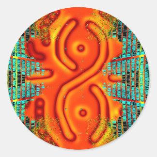 Windswept Extreme Design Orange Urban Futurism Classic Round Sticker