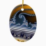 Windswept Fractal Art Ceramic Ornament