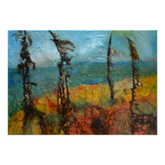 Windswept Pine Trees Art Poster
