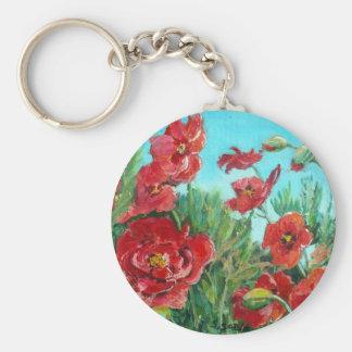 Windswept red poppies keychain