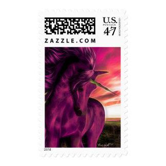 Windswept Unicorn in Amethyst Postage