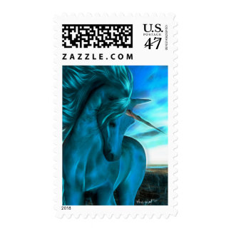 Windswept Unicorn in Azure Postage