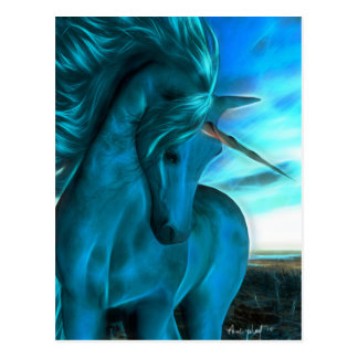 Windswept Unicorn in Azure Postcard