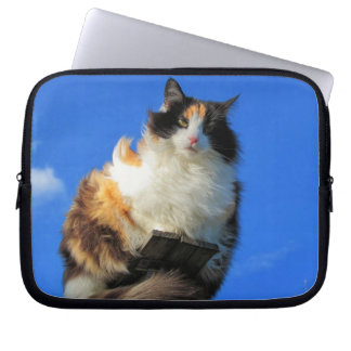 Windy Calico Cat Up High Computer Sleeve