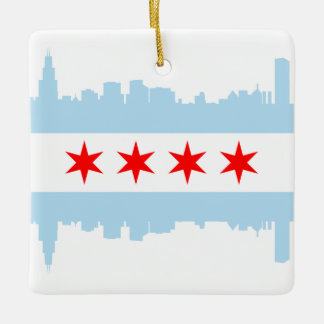 Windy City Skyline Chicago Flag Square Ornament