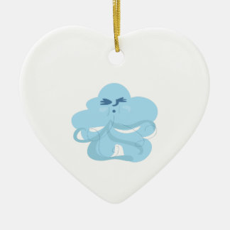 Windy Cloud Double-Sided Heart Ceramic Christmas Ornament