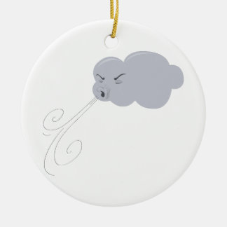 Windy Cloud Double-Sided Ceramic Round Christmas Ornament