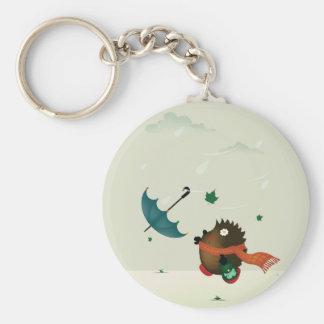 windy day basic round button keychain
