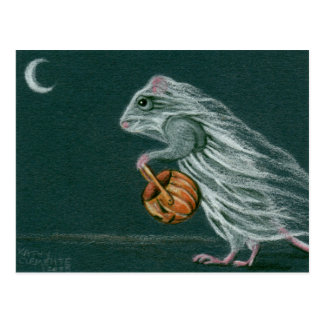 Windy Halloween Ghost Postcard