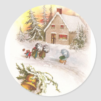 Windy New Year and Stone House with Bell Classic Round Sticker