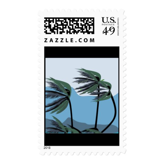 WINDY PALM TREES BLUES TROPICAL SCENERY NATURE POSTAGE