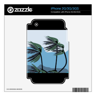 WINDY PALM TREES BLUES TROPICAL SCENERY NATURE DECALS FOR iPhone 3G