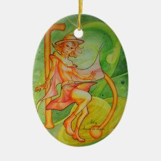 Windy Saturn Ceramic Ornament