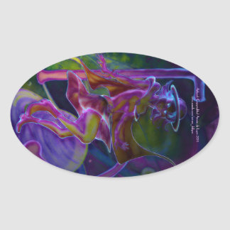 Windy Saturn Psychedelic Oval Stickers