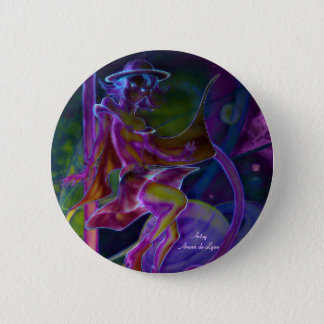 Windy Saturn Psychedelic Pinback Button