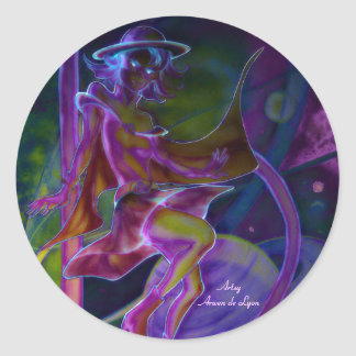 Windy Saturn Psychedelic Round Stickers